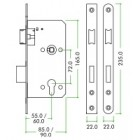ZDL7255SS Euro Sashlock 55MM Backset -Square