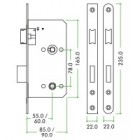 ZDL7855SS Bathroom Lock 55mm Backset-Square